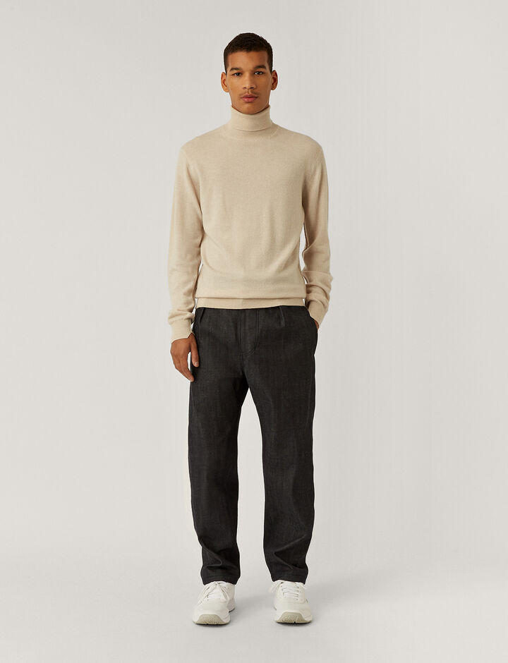 Joseph, Pure Cashmere Roll Neck Jumper, in MASTIC