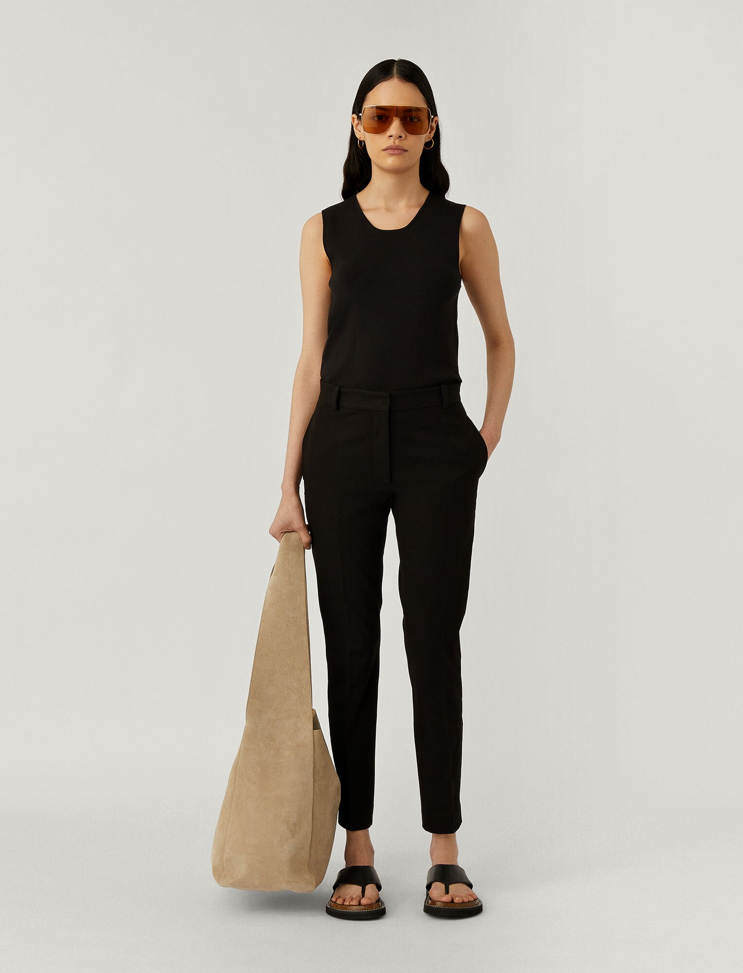 Joseph, Zoom Gabardine Stretch Trousers, in BLACK