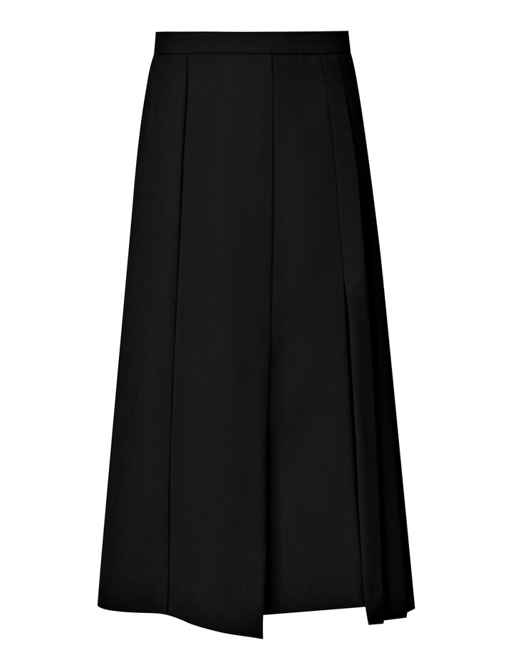 Joseph, Malvyn Wool Granite Skirt, in BLACK