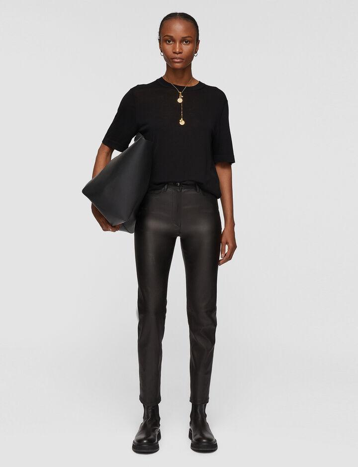 Joseph, Teddy-Leather Stretch, in BLACK