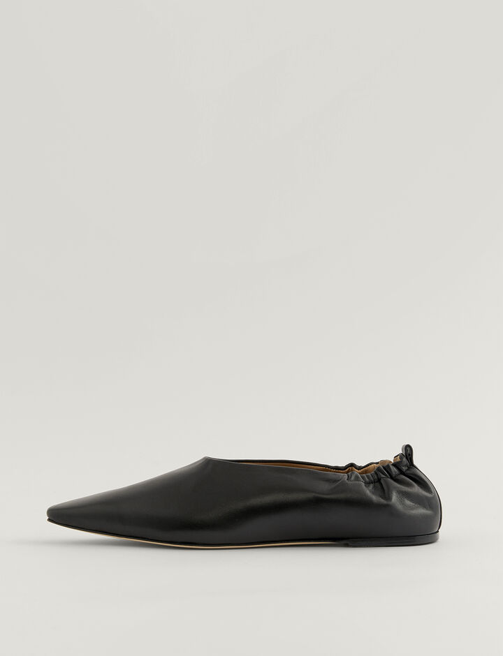 Joseph, Pointy Square Ballerina Shoes, in BLACK