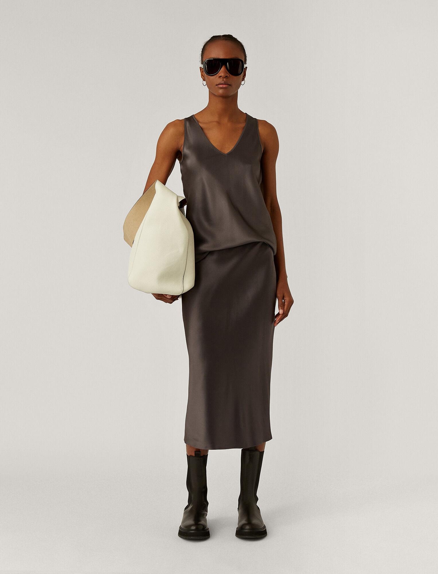 Joseph, Silk Satin Isaak Skirt, in ANTHRACITE