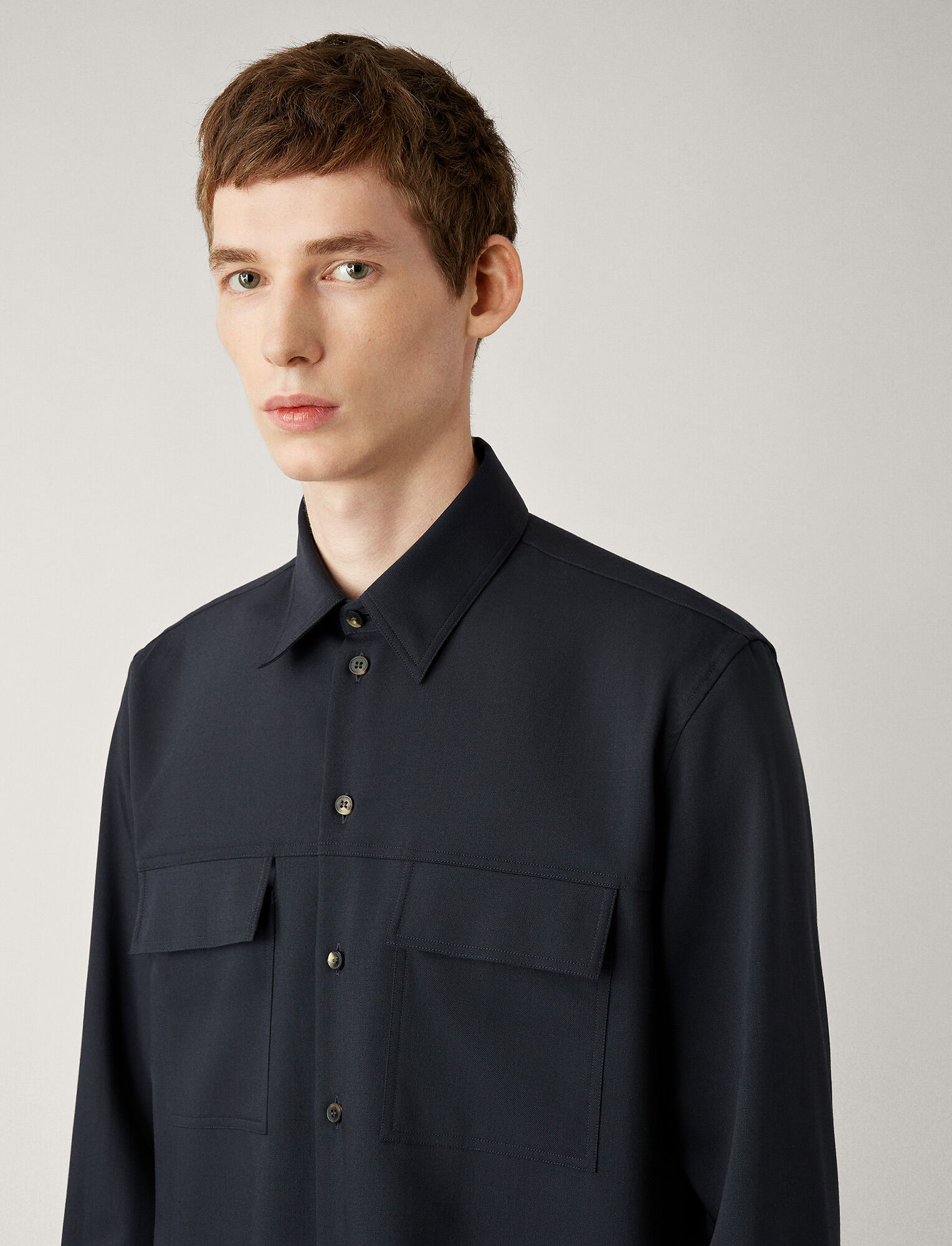 Joseph, Norman Fine Comfort Wool Shirt, in NAVY
