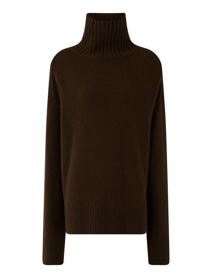 Joseph, High Nk Ls Luxe Cashmere Knitwear, in Chocolate