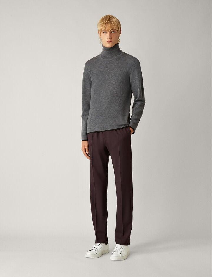 Joseph, Ettrick Techno Wool Stretch Trousers, in BURGUNDY