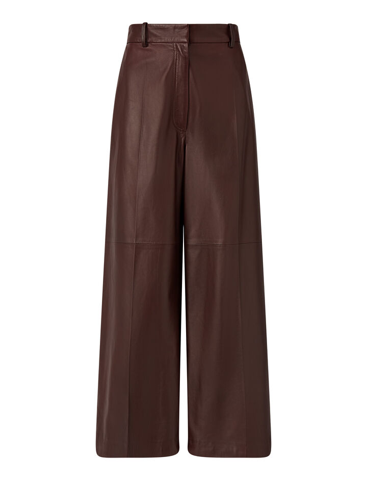 Joseph, Tuba Nappa Leather Trousers, in Ganache