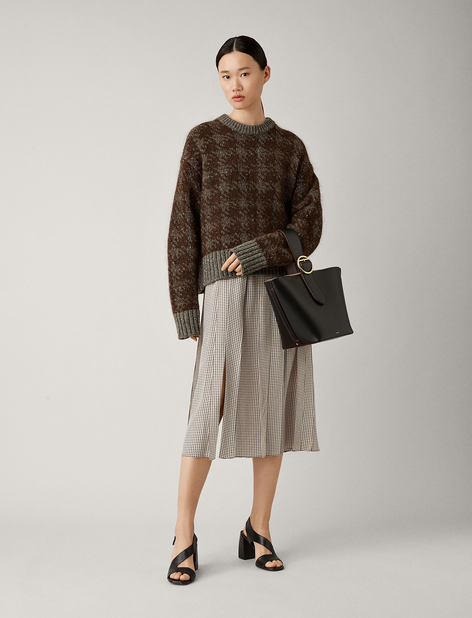 Joseph, Pied De Poule Knit, in BROWN COMBO