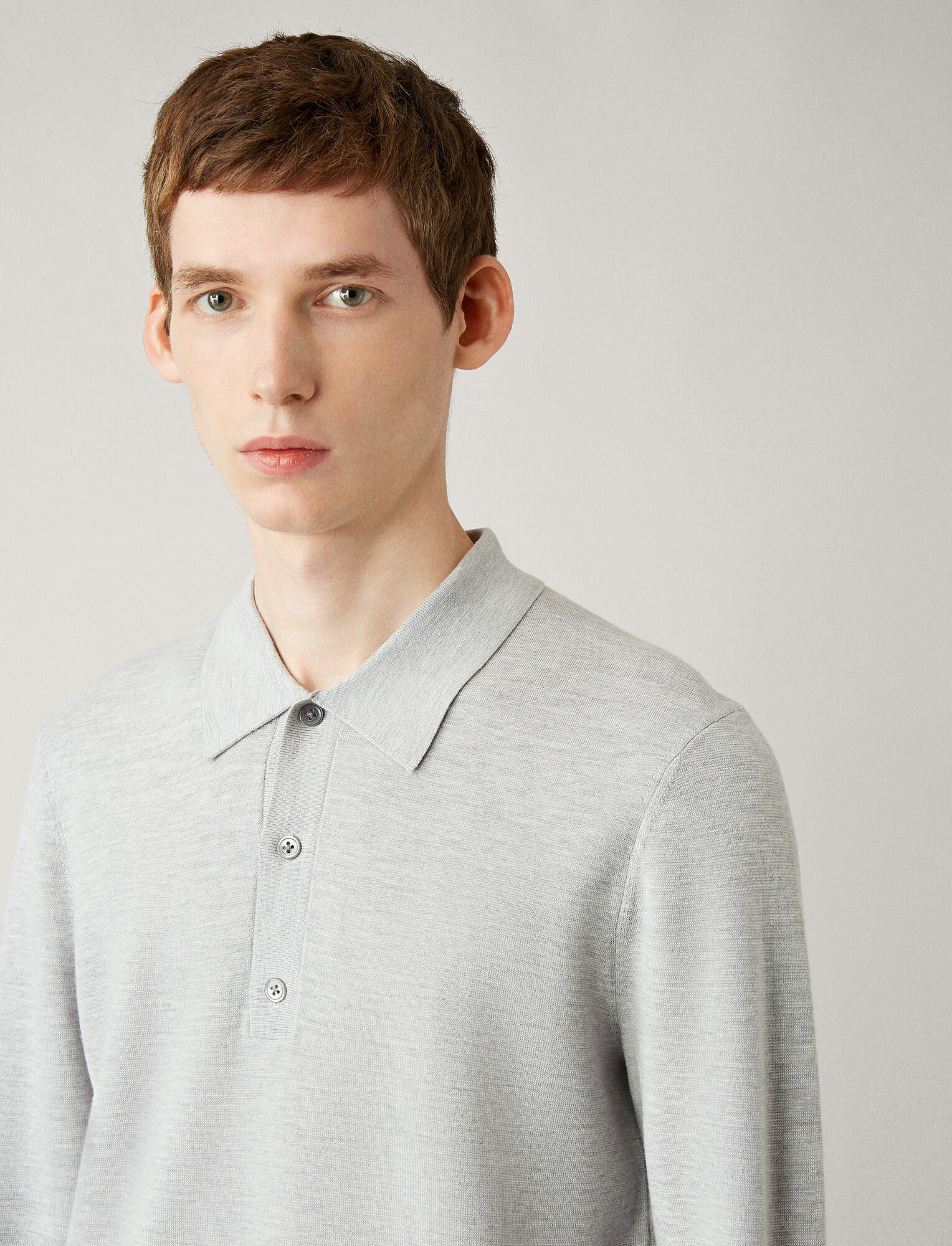 Joseph, Polo Fine Milano Knit, in GREY CHINE