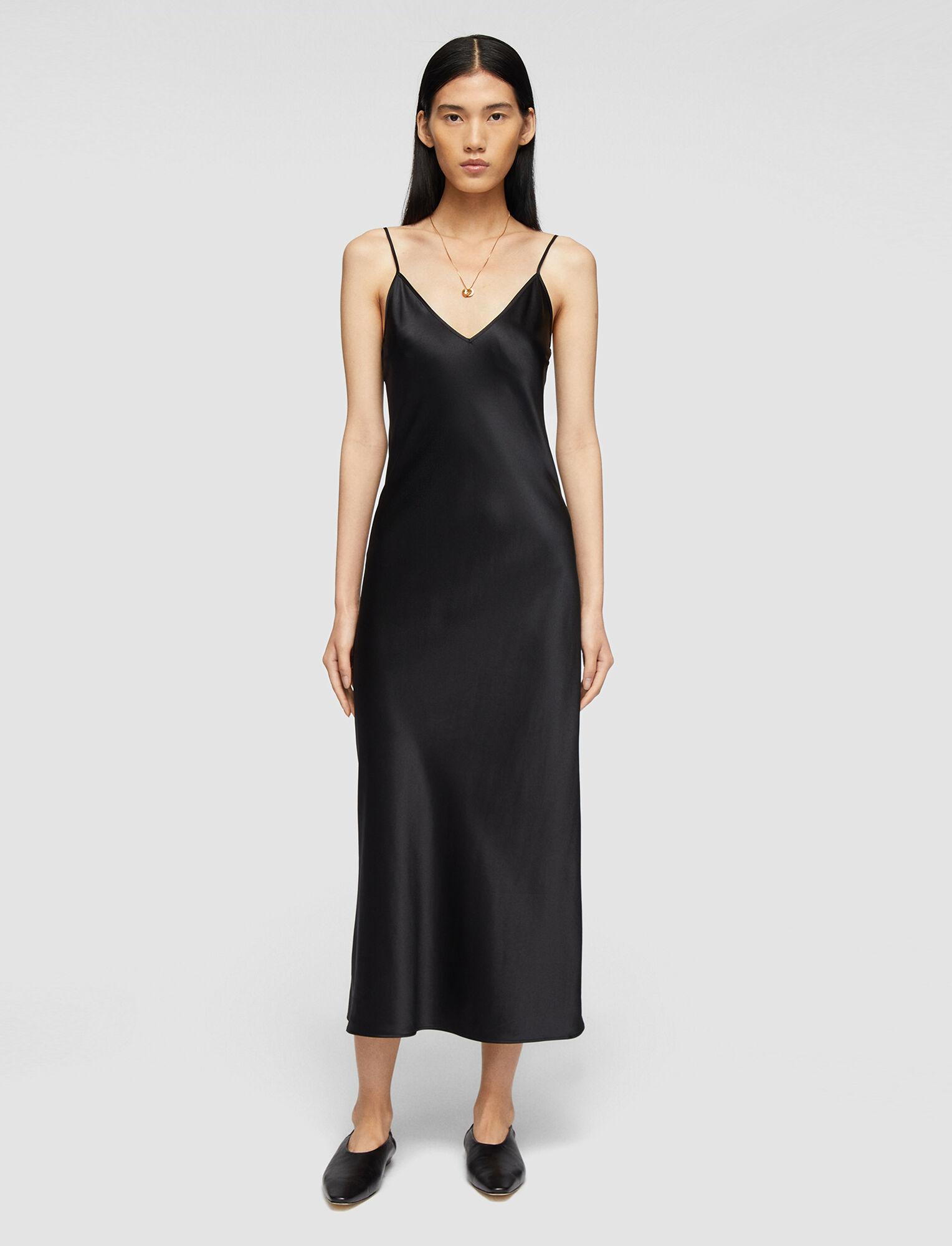 Joseph, Silk Satin Clea Dress, in BLACK