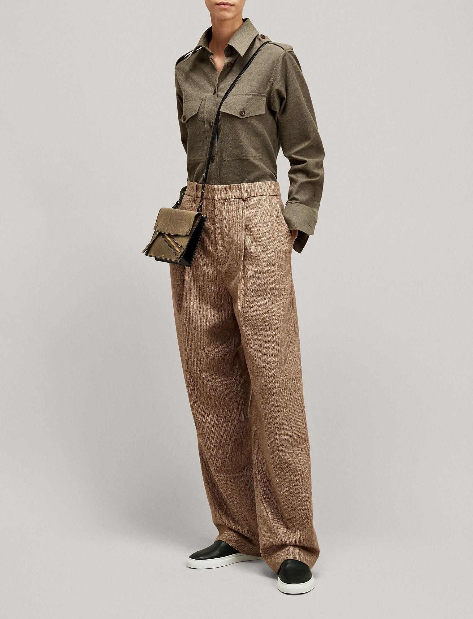 Joseph, Rainer Flannel Shirting Blouse, in ARMY MELANGE