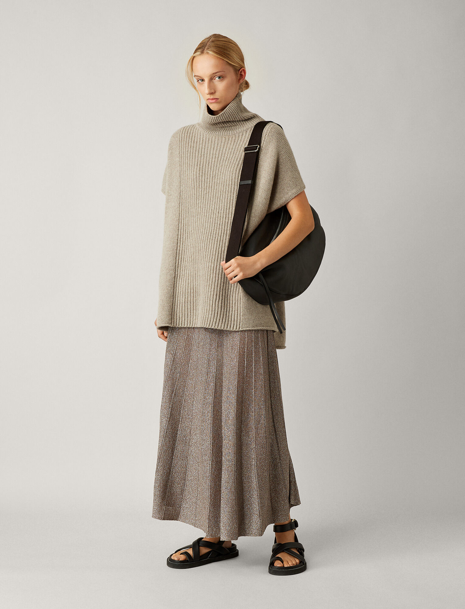 Joseph, Poncho Cashmere Luxe Knit, in QUARTZ