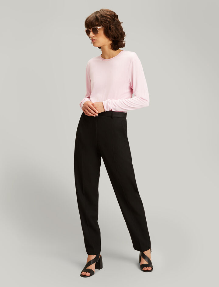 Joseph, Electra Grain De Poudre Trousers, in BLACK