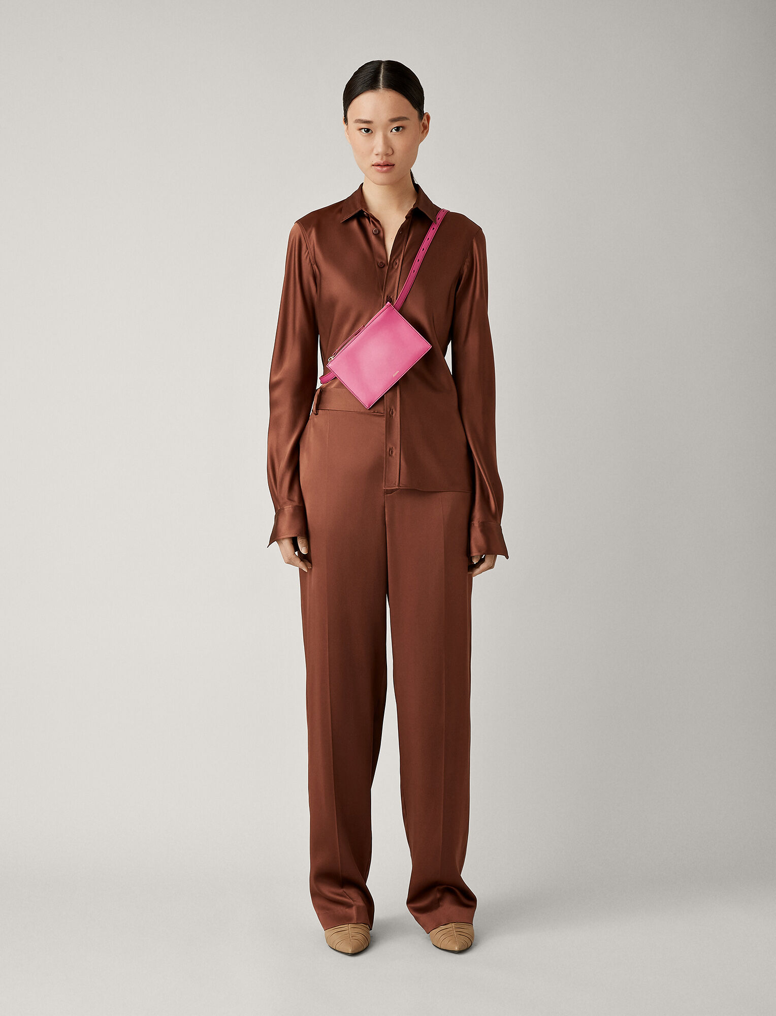Joseph, Jack Silk Satin Trousers, in RAISIN