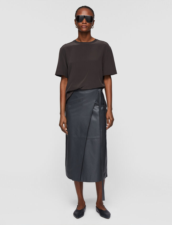 Joseph, Nappa Leather Saraya Skirt, in Graphite
