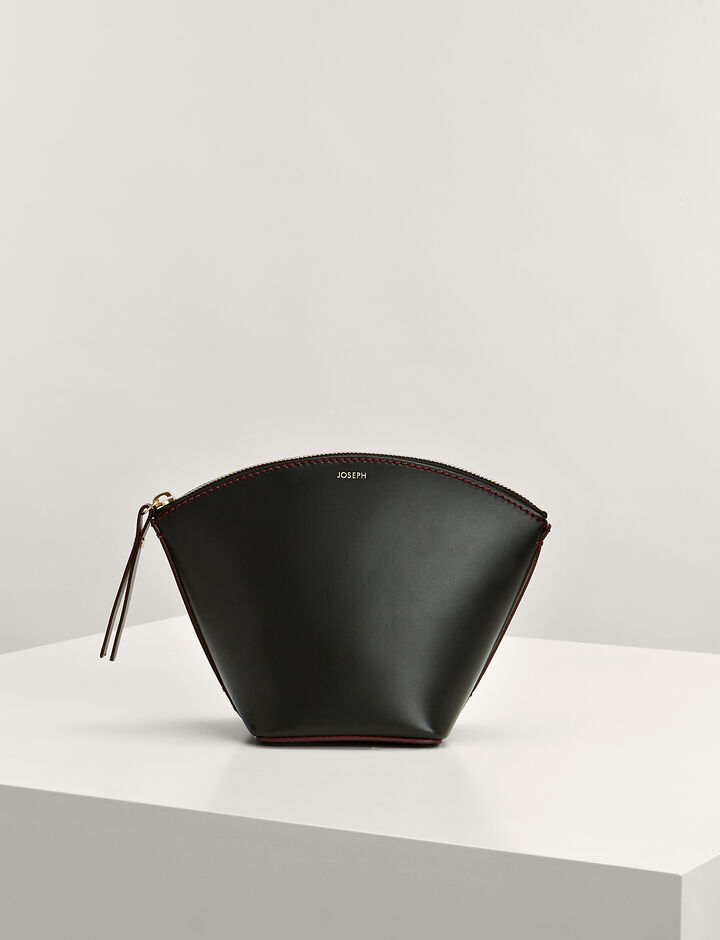 Joseph, Calf-Leather Taco Clutch Bag, in BLACK