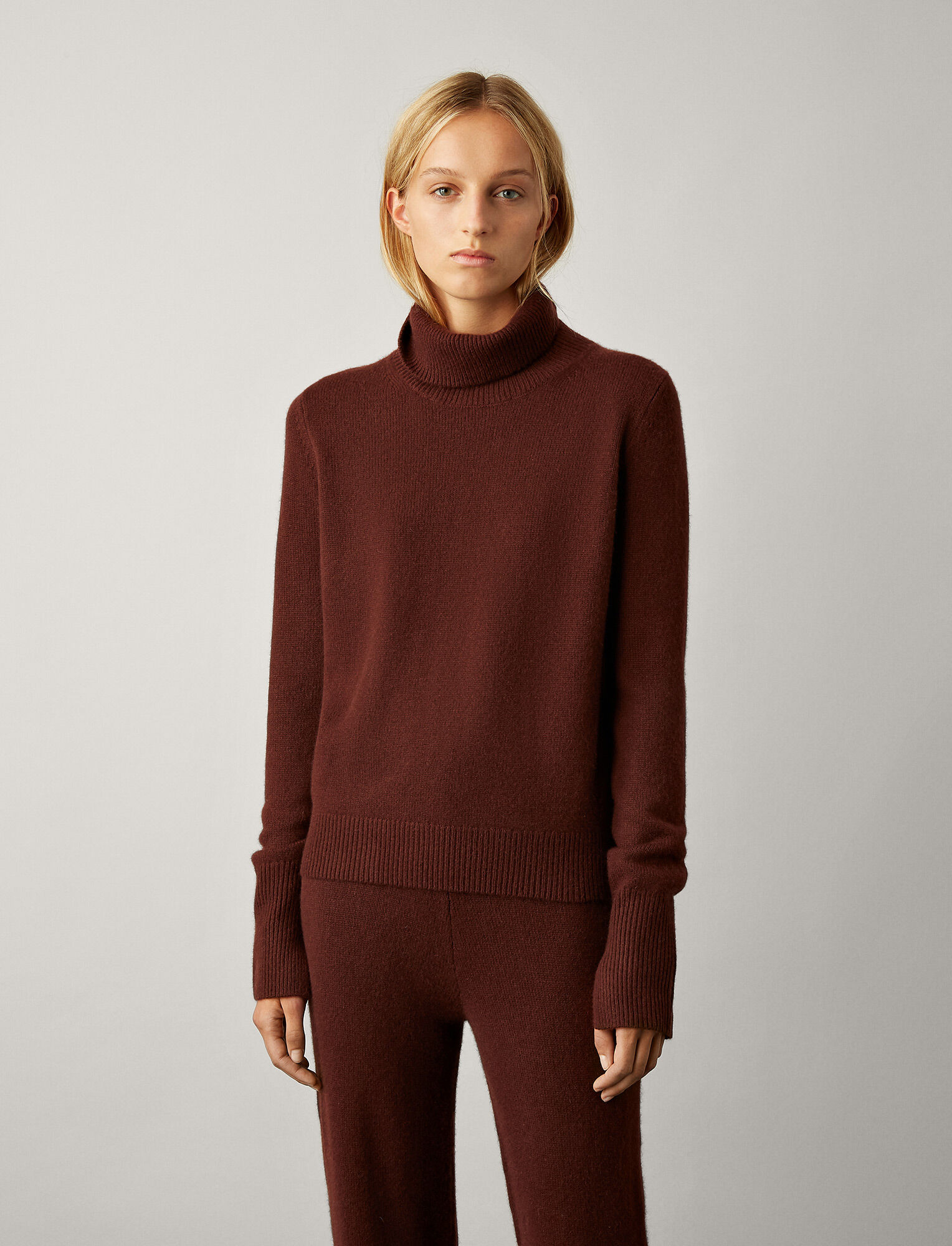 Joseph, High Neck Pure Cashmere Knit, in MAROON