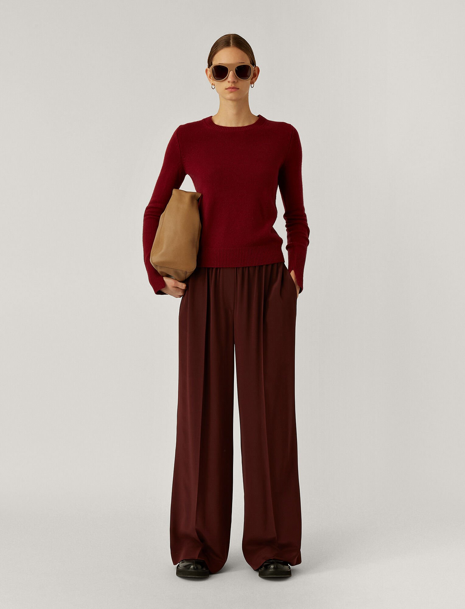 Joseph, Taffy Crepe De Chine Trousers, in Ganache