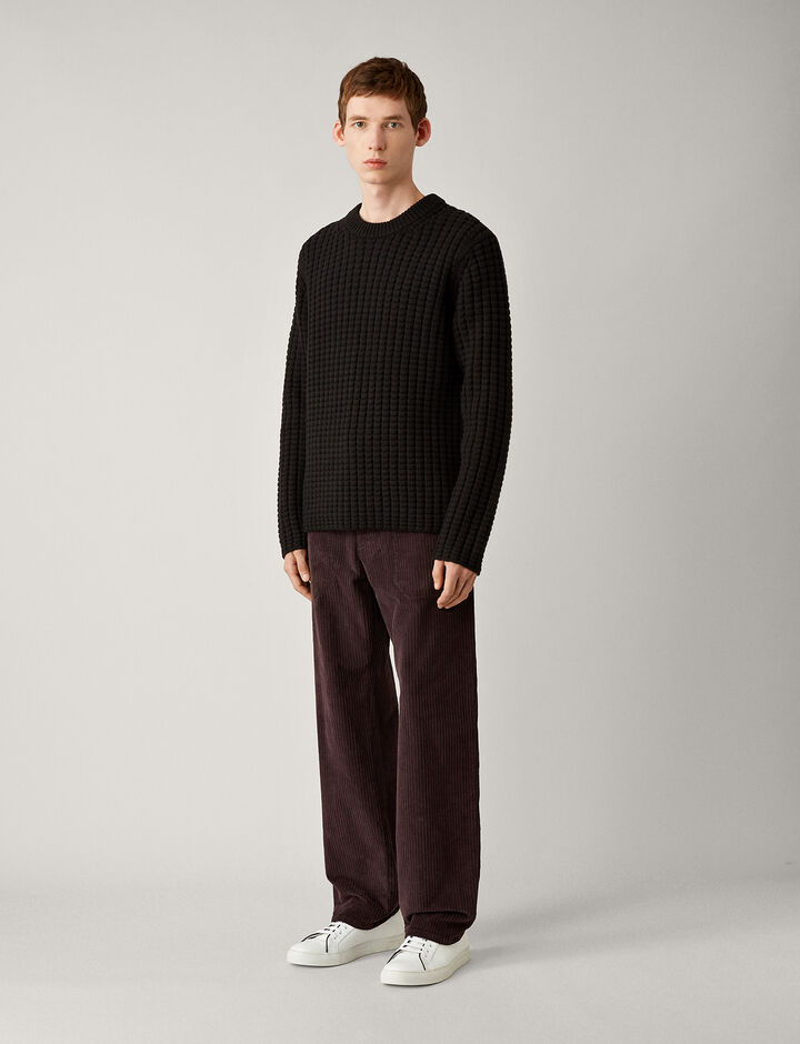 Joseph, Waffle Soft Wool Knit, in BLACK
