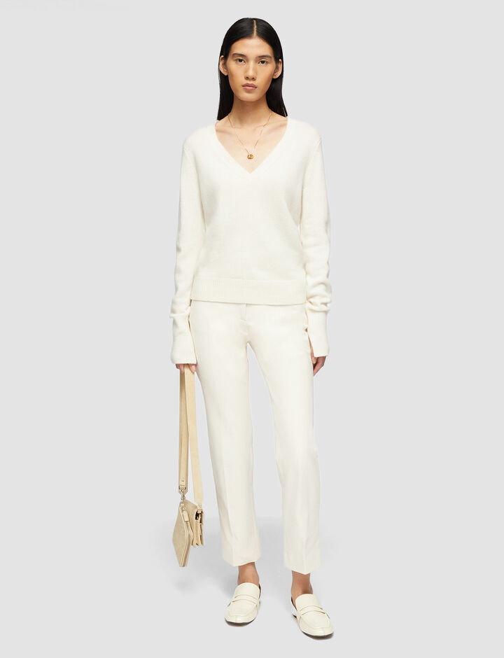 Joseph, V Nk Ls Pure Cashmere Knitwear, in Ivory