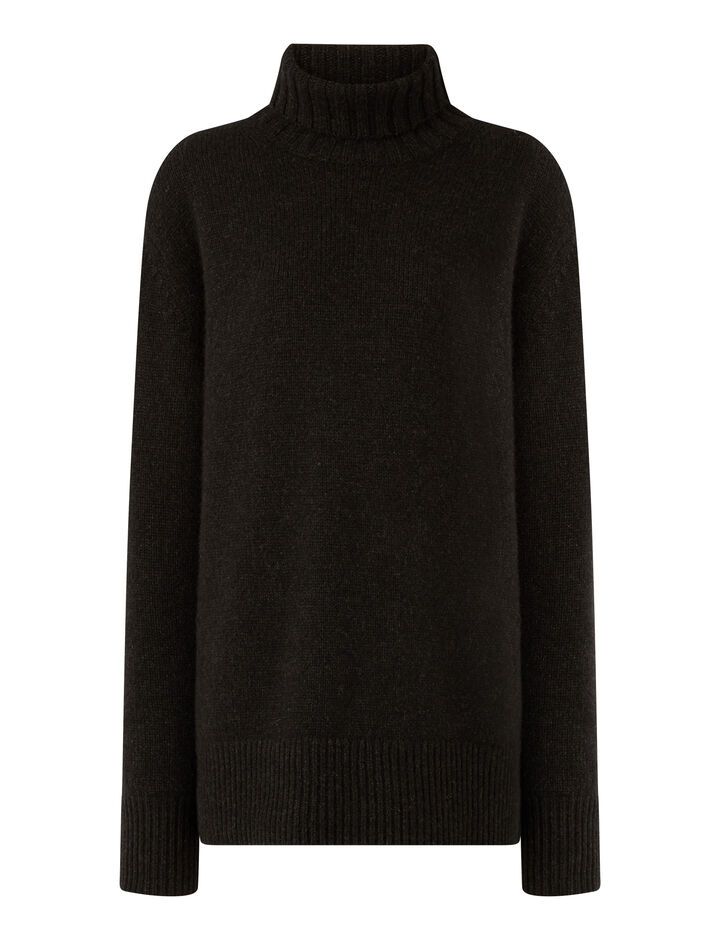 Joseph, High Nk Ls-Luxe Cashmere, in ANTHRACITE