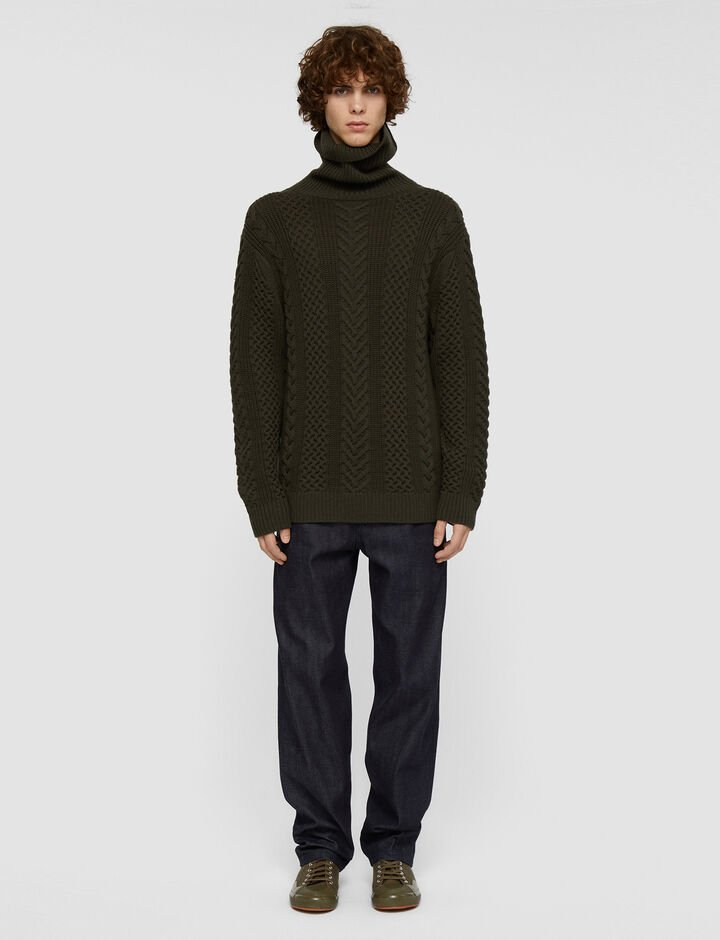 Joseph, Worsted Cable Knit High Neck Jumper, in Cypress