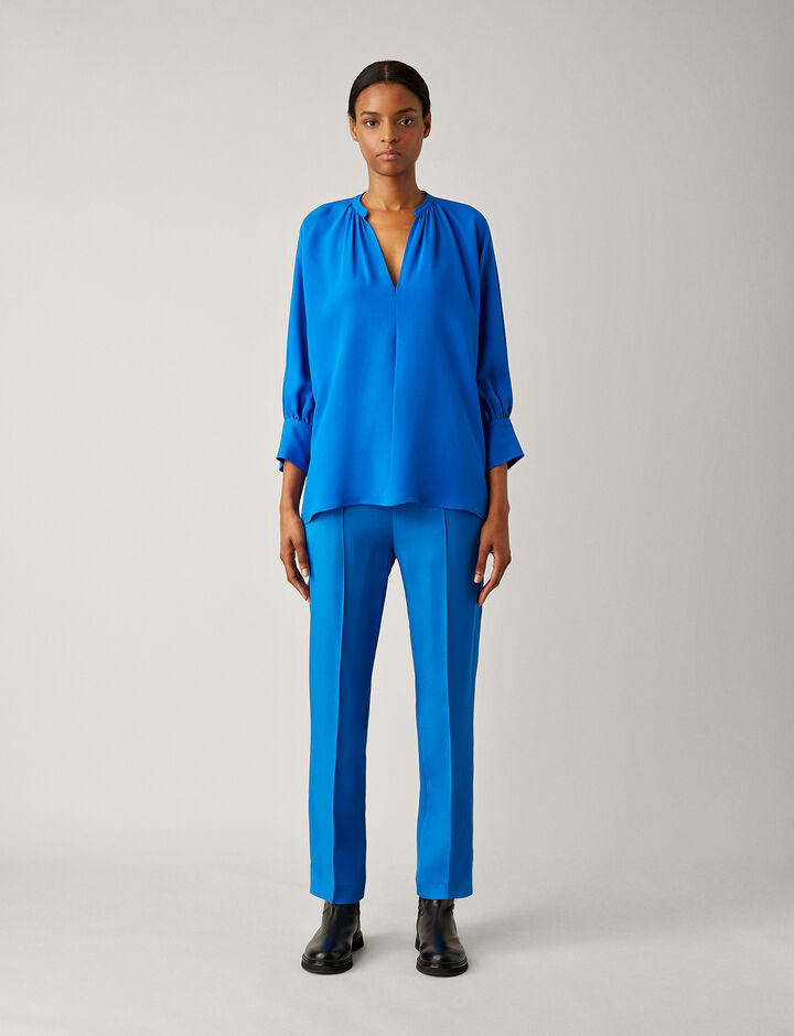 Joseph, Alma Silk Crepe Blouse, in PLASTIC BLUE