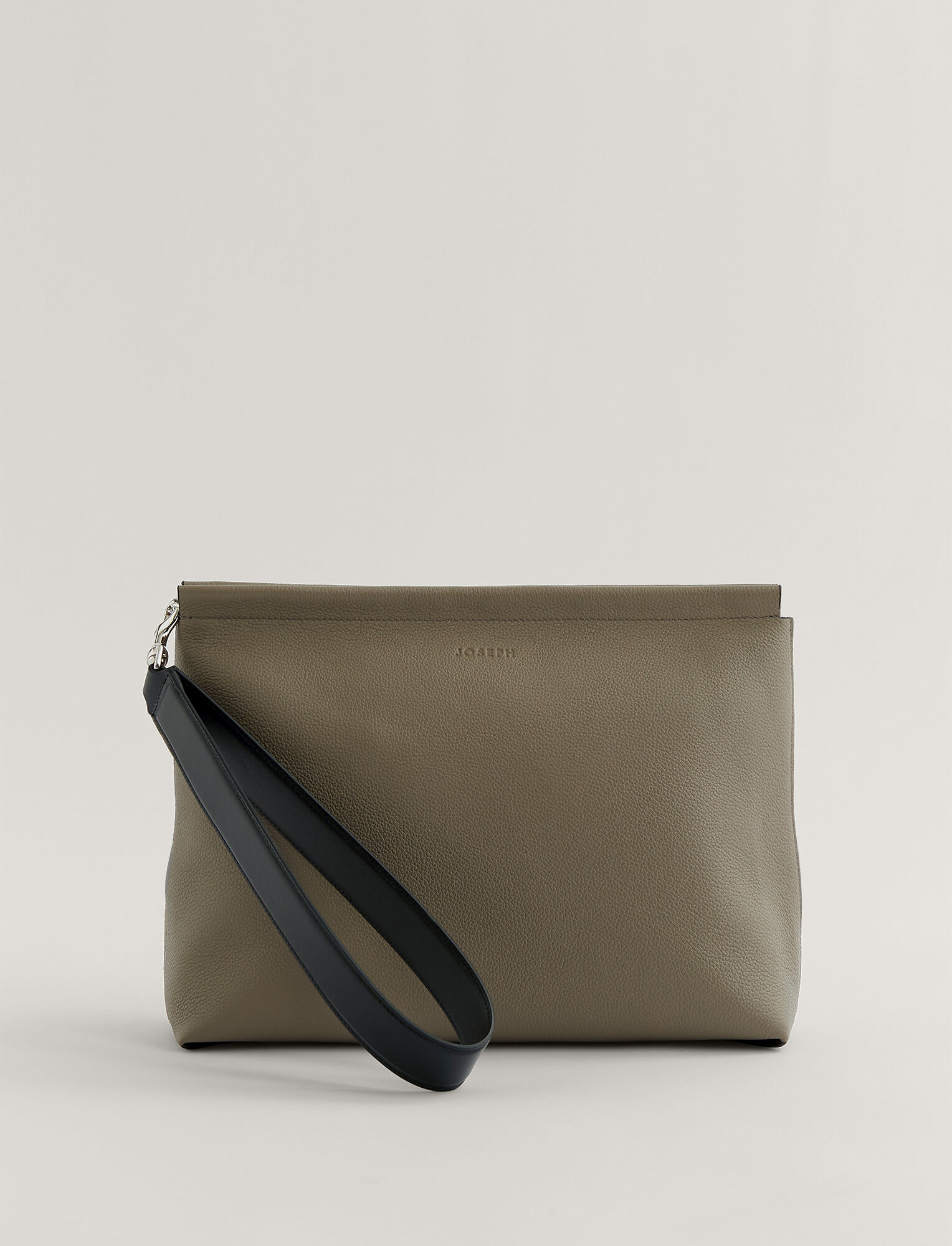 Joseph, Grain Leather Clutch Bag, in Grey