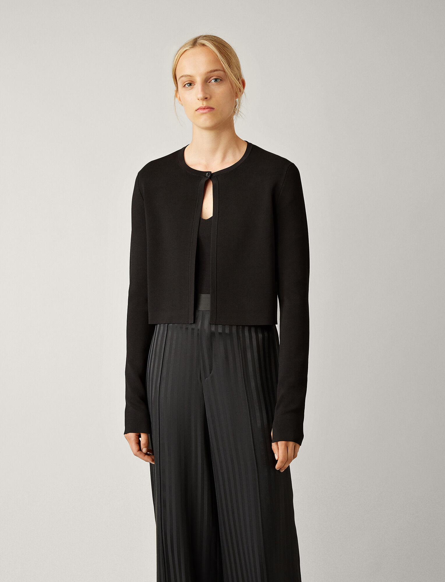 Joseph, Cardigan Viscose Milano Knit, in BLACK
