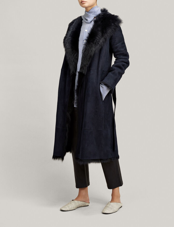 Joseph, Long Hair Toscana Lima Sheepskin, in NAVY