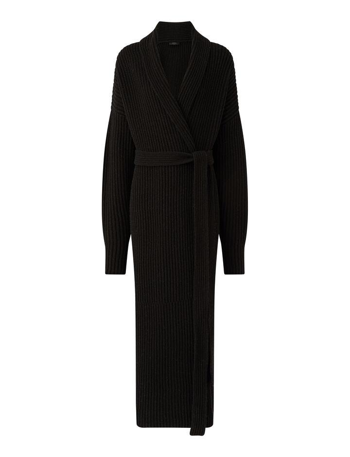 Joseph, Cardigan Stitch Coat, in BLACK