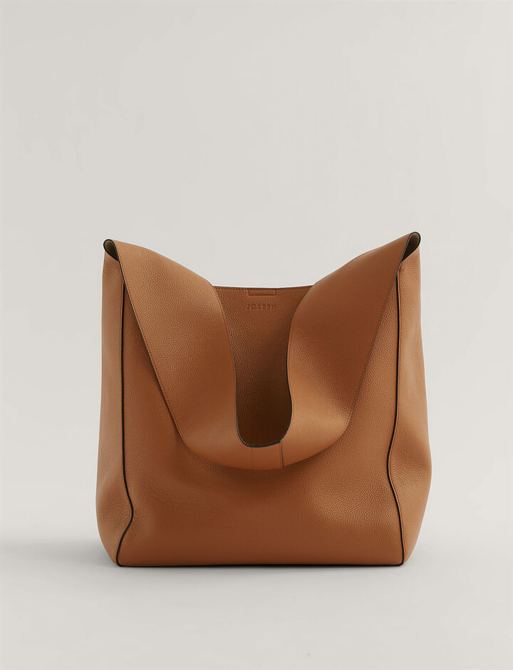 Joseph, Slouch Xl Grain Leather Shoulder Bag, in Cognac