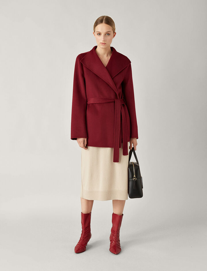 Joseph, Lima Short Double Face Cashmere Coat, in GARNET