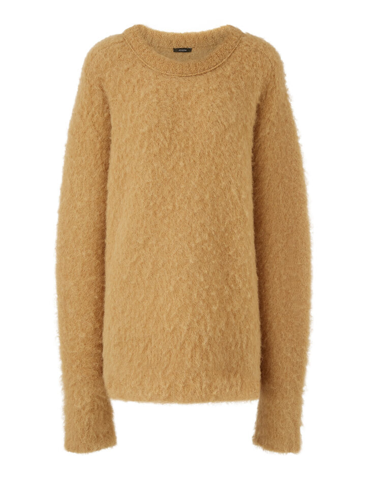 Joseph, Rd Nk Ls-Brushed Knit, in CAMEL