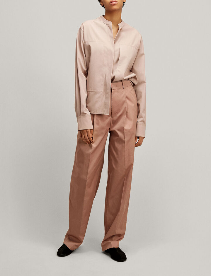Joseph, Riska High Twist Cotton Trousers, in ROSE