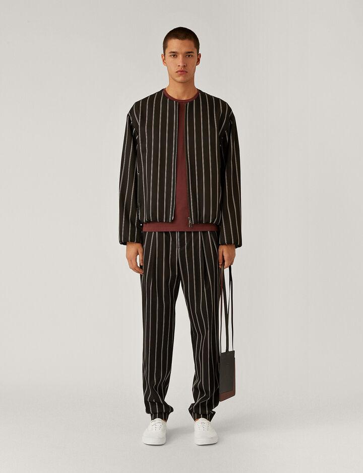 Joseph, Viscose Wool Stripe Jacket Jackets, in Black