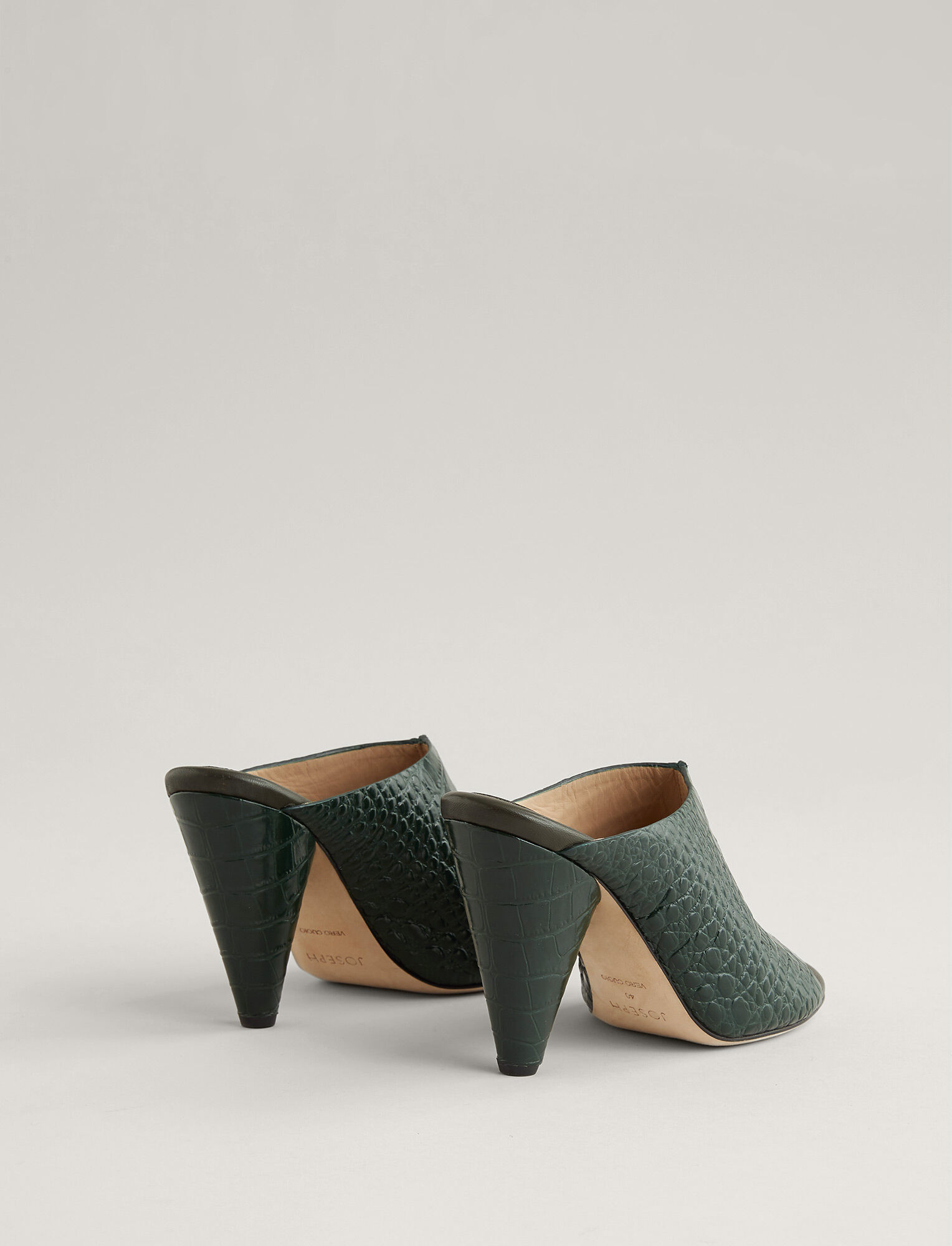 Joseph, Fouzia Leather Heel, in MILITARY
