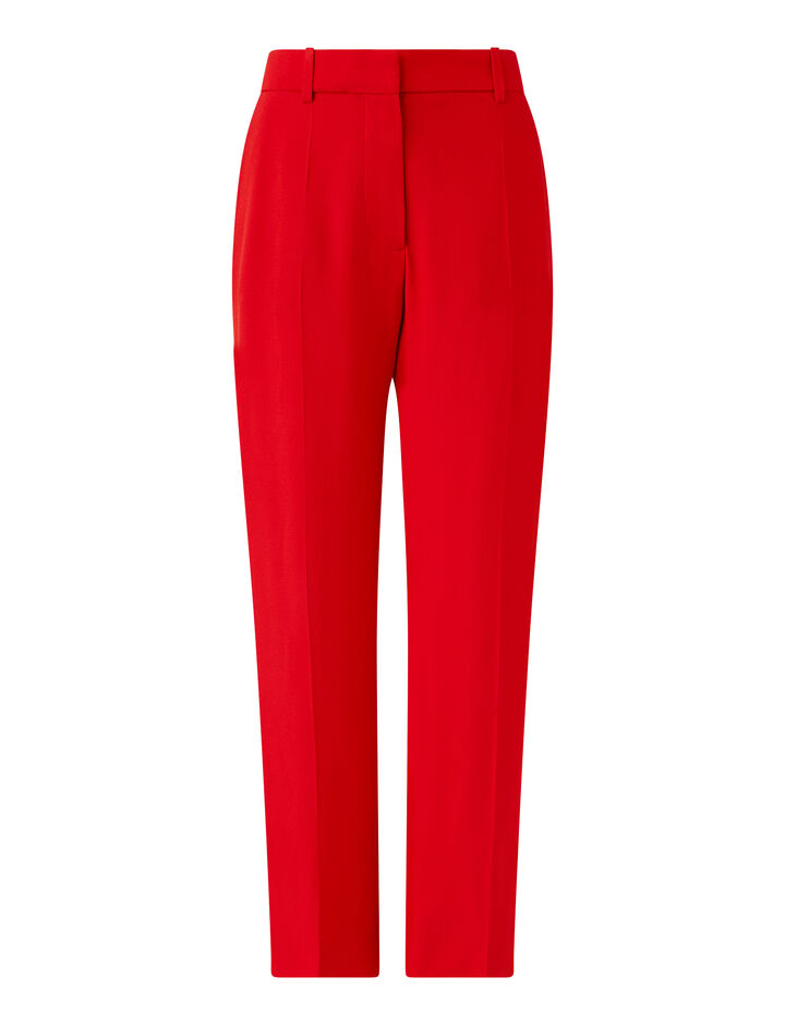 Joseph, Tape Crepe Satin Trousers, in FLAME