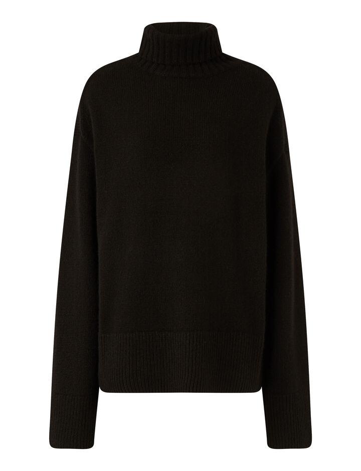 Joseph, High Nk Ls Luxe Cashmere Knitwear, in Black