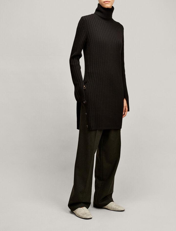 Joseph, Rib Tunic Soft Wool Knit, in BLACK