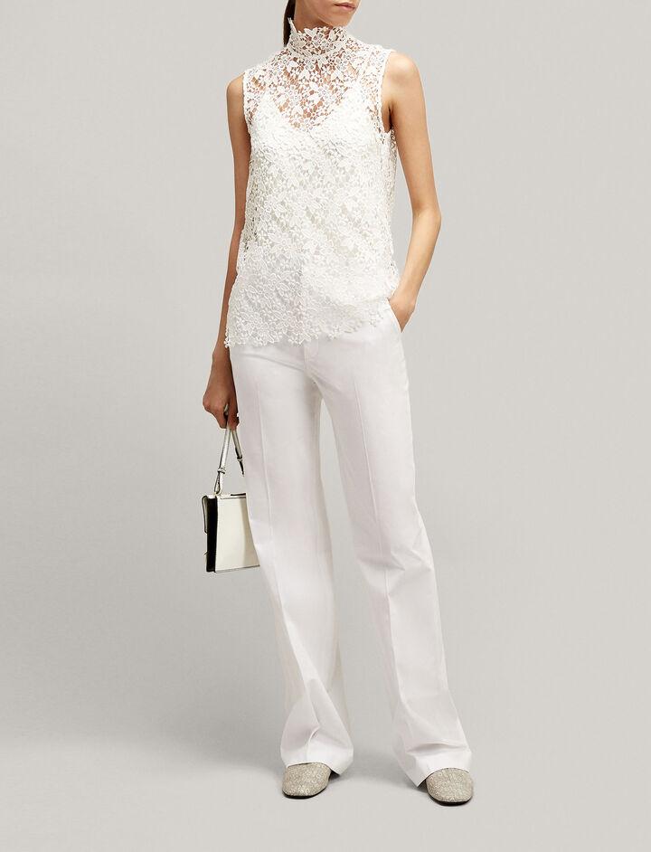 Joseph, New Tropez Cotton Stretch Trousers, in WHITE