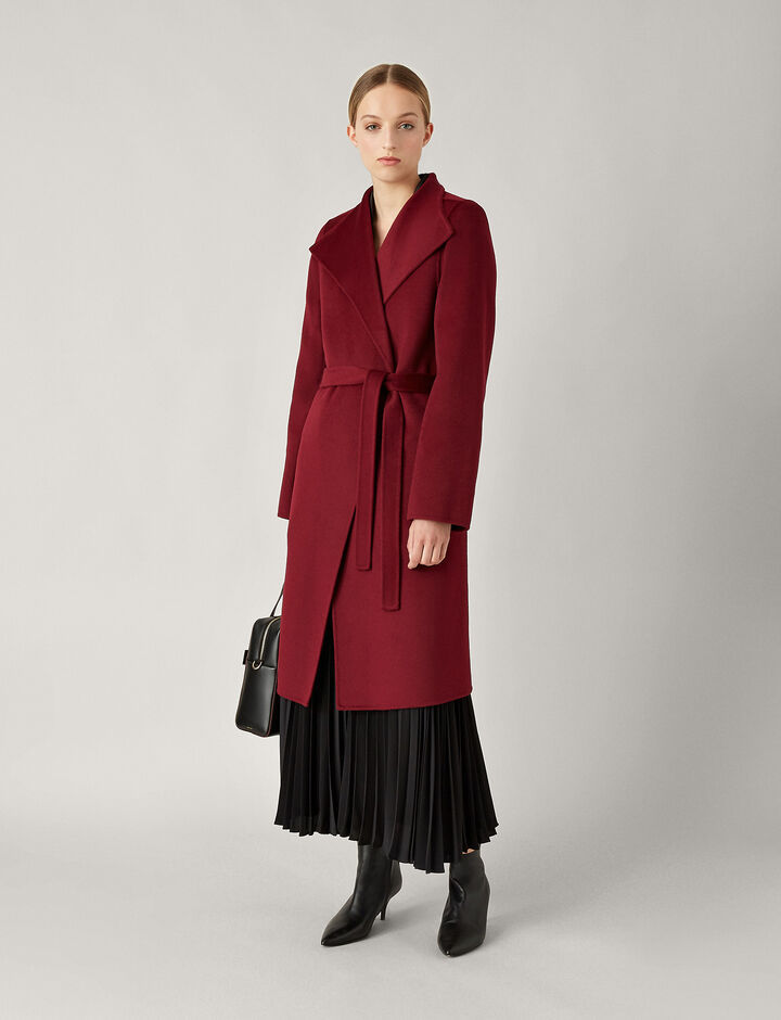 Joseph, Lima Double Face Cashmere Coat, in GARNET