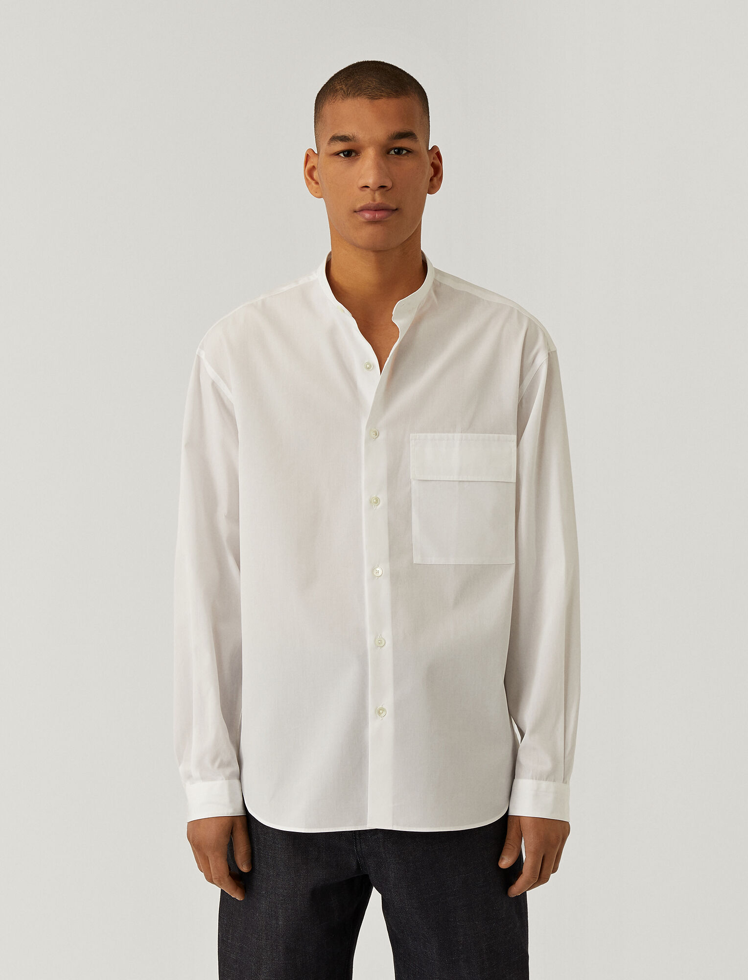 Joseph, Mercerised Poplin Cold Shirt, in WHITE