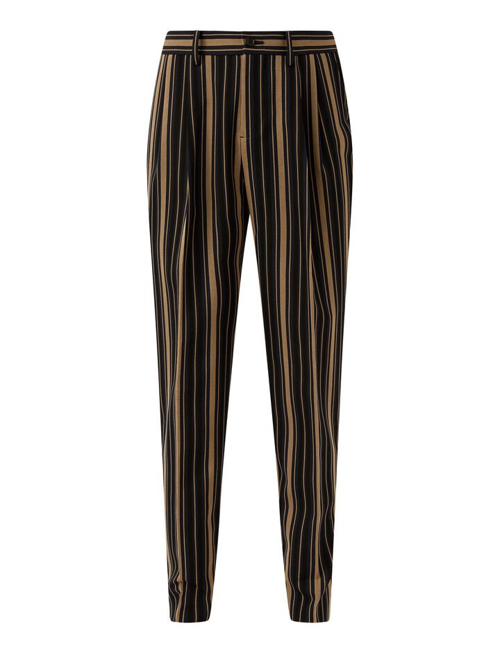 Joseph, Worsted Wool Stripe Teddy Trousers, in NAVY