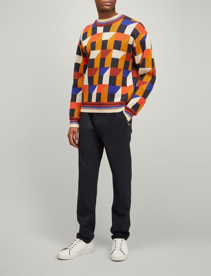 Joseph, Geometric Jacquard Sweater, in MULTICOLOUR