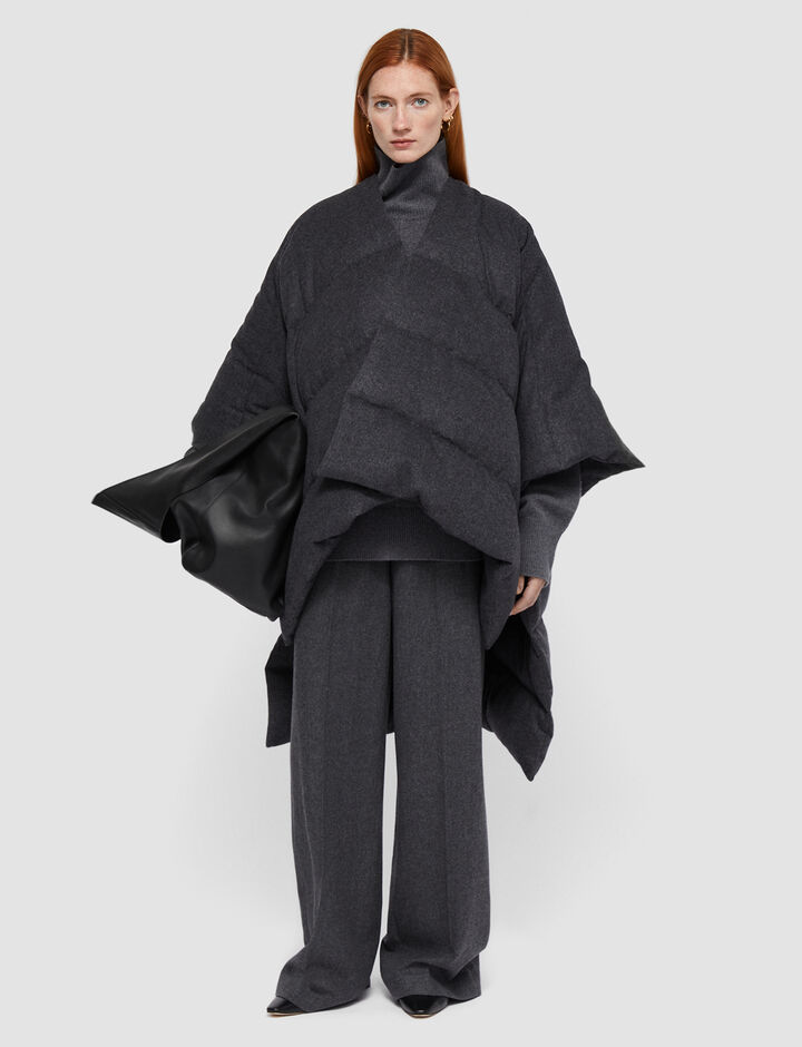 Joseph, Brushed Flannel Poncho, in Graphite