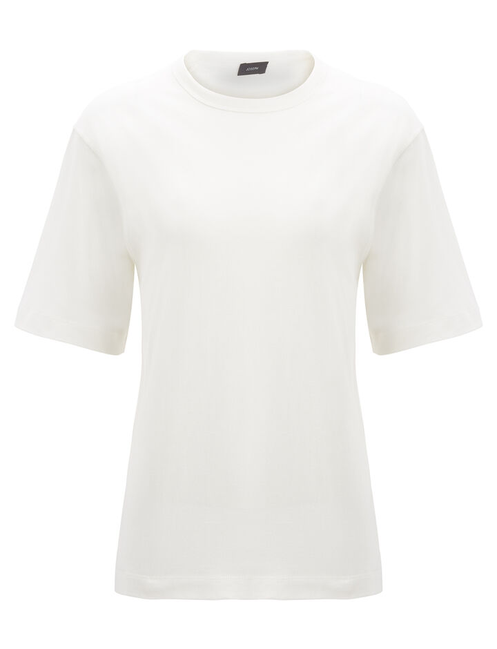 Joseph, Mercerized Jersey Boyfriend Tee, in OFF WHITE