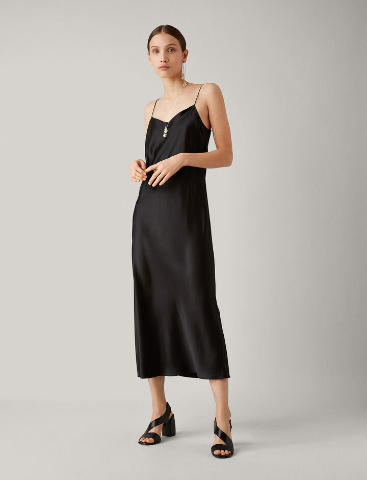 Joseph, Stone Silk Satin Dress, in BLACK