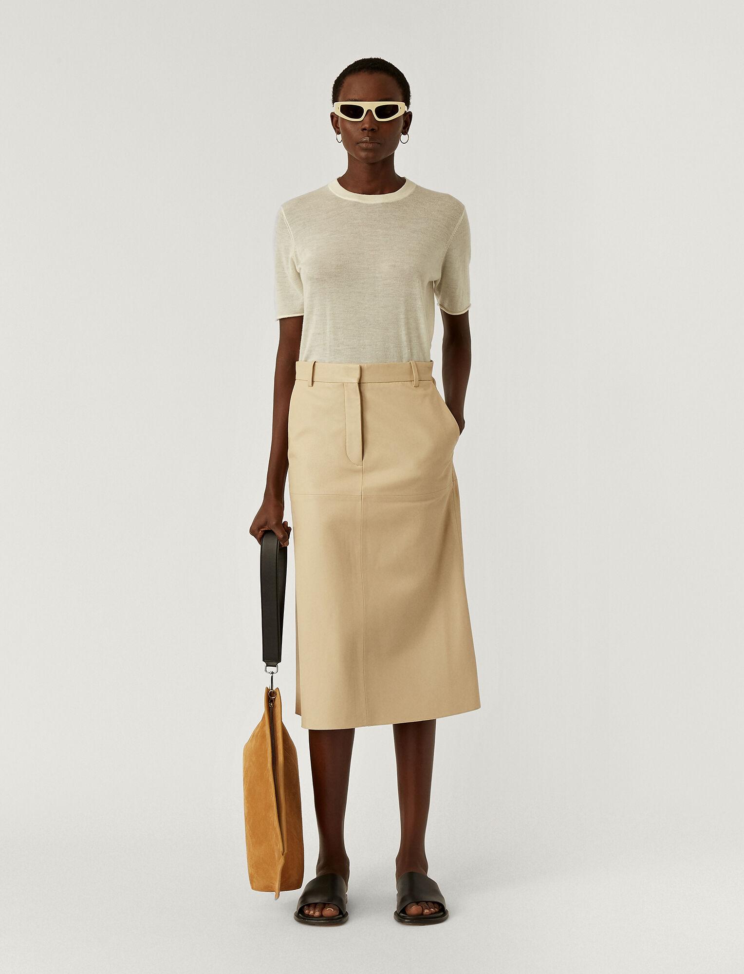 Joseph, Nappa Leather Salva Skirt, in MASTIC