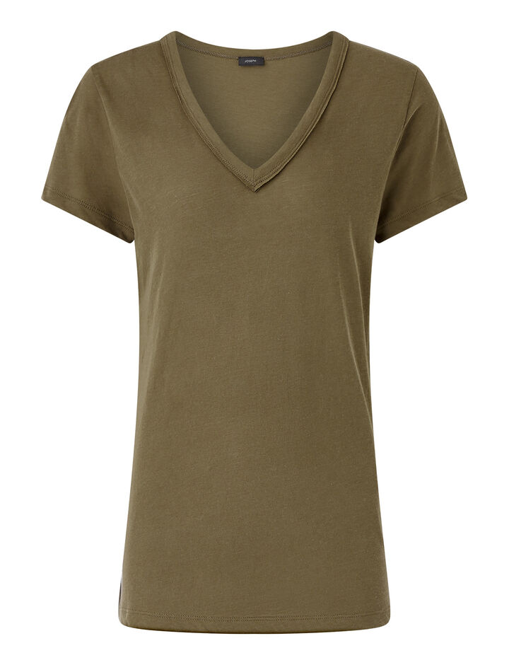 Joseph, V Nk Ss-Light Cotton Jersey, in KHAKI