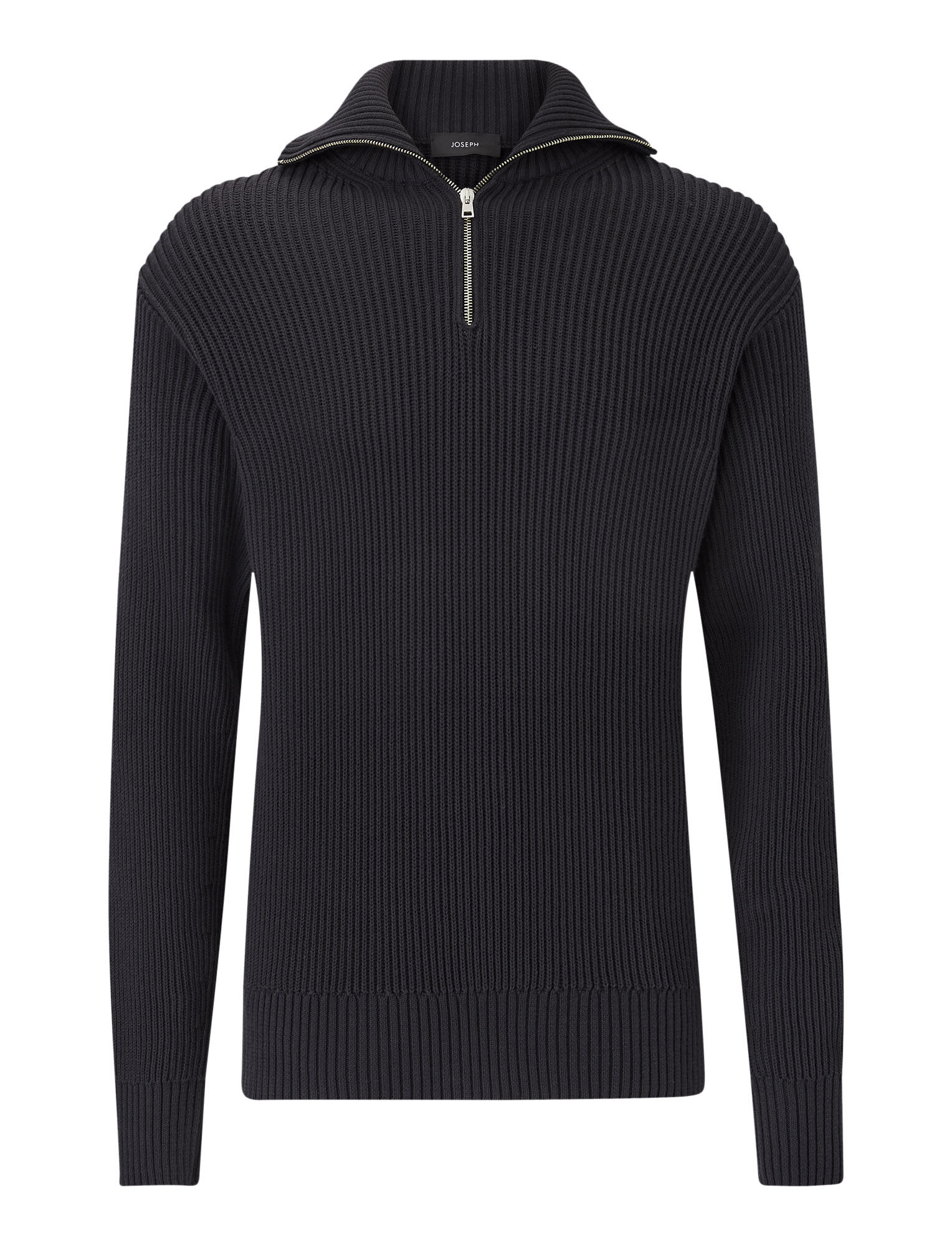 Joseph, High Neck Zip Cote Anglaise Knit, in CHARCOAL